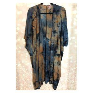 Mauve Blue and Brown Tie-dye long kimono